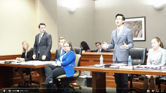 screenshot from video of Mock Trial