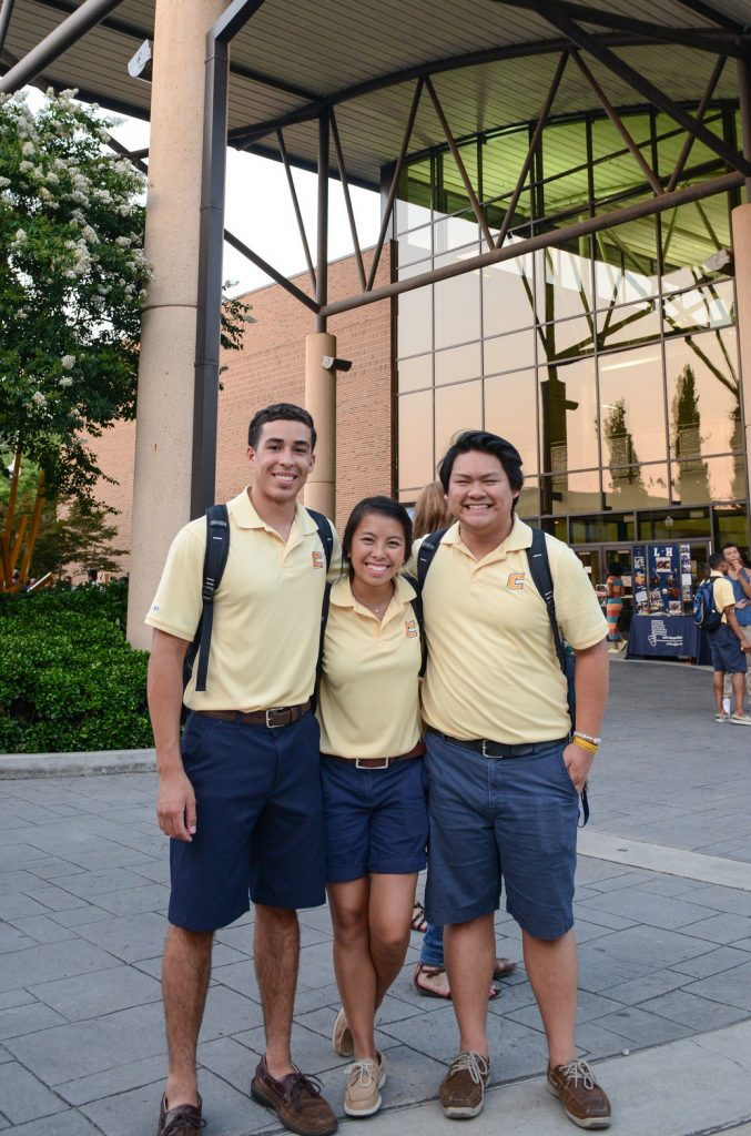 Student orientation leaders standing by the University Center