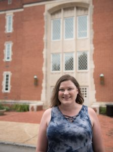 Stacey Hurst stands Friday, Aug. 11, 2017 in front of Hunter Hall. Hurst started classes this semester.