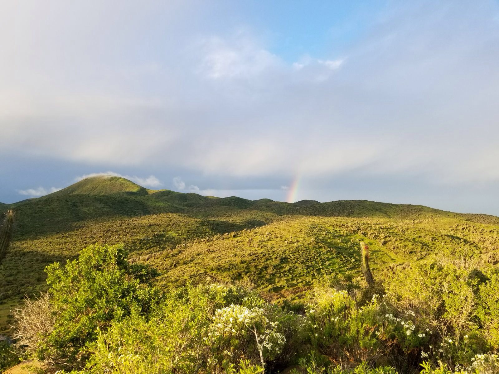 A rainbow shoots out from the hills in the distance.