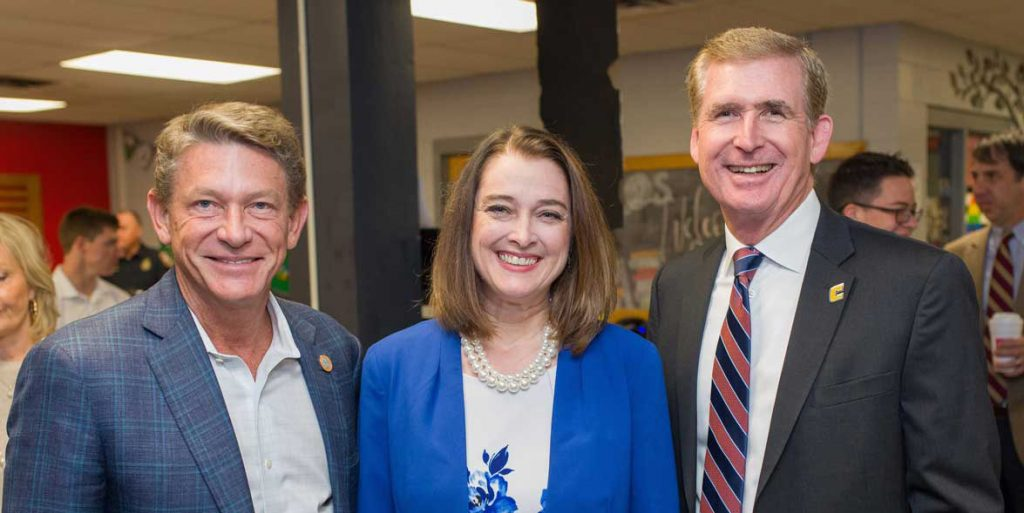 UT System President Randy Boyd, Red Bank High School Principal Elaine Harper and UTC Chancellor Steve Angle pose for photo at Red Bank High School