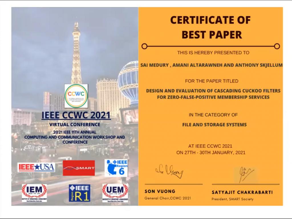 Certificate of Best Paper